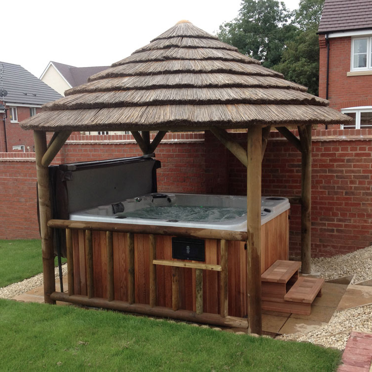 hot tub enclosure package 3 8m thatch gazebo. Black Bedroom Furniture Sets. Home Design Ideas