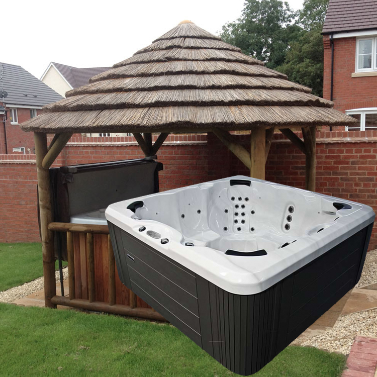 3.8M THATCH GAZEBO + REGENCY PRINCE HOT TUB