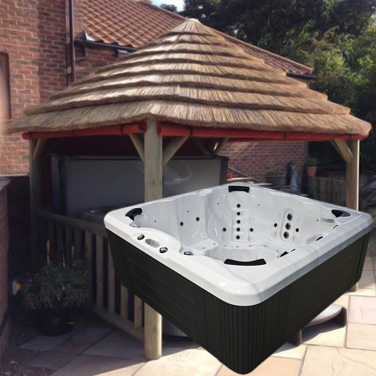4.2M THATCH GAZEBO + EVOLUTION SC858 HOT TUB