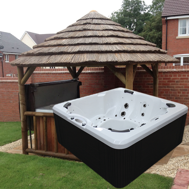 3.8M THATCH GAZEBO + EVOLUTION SL743 HOT TUB